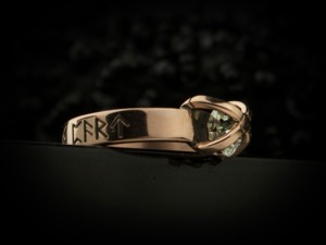 001 / Rustic Herkimer Diamond Engagement Ring Nordic Runes Terminated Quartz Old World Norse Mythology Viking 14K Rose Gold