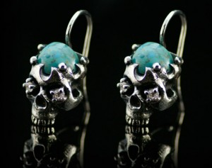 Holy bones (natural turquoise) Gothic silver earrings / Earrings made of silver / Giger / Steampunk / Biomechanic