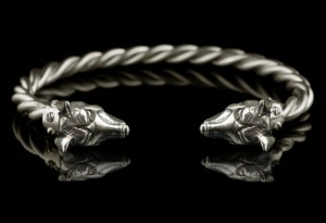 Fenrir - Viking bracelet with bears heads - silver bracelet, anatomical, biomechanics, Cuff Bracelet, bears Cuff Bracelet
