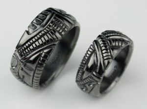 Biomechanical Wedding Bands, gothic silver ring, Anatomical ring / Steampunk / Biomechanics /Men ring/ Men gift