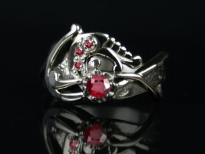 001 / Ruby dragon - silver ring, celtic ring,dragon engagement ring, dragon,