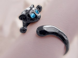 Cat - ring made of black silver , natural topaz, handmade ring, Kitty ring, cat ring, black cat