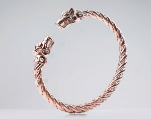 Fenrir (silver / rose gold) - Viking bracelet with wolf heads , brass skull bracelet, anatomical, biomechanics, Cuff Bracelet, cuff