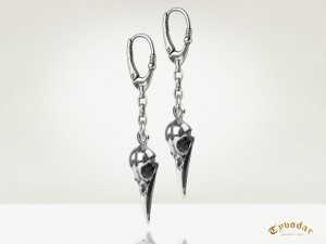 Raven skull earrings | TYVODAR
