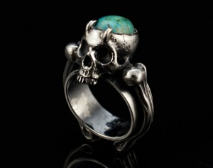 Nigrum Adamas (natural turquoise) - gothic skull silver ring, skull engagement ring / Steampunk / Biomechanics