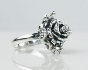 Black rose - Rose Ring Silver - Flower Ring - Rose Jewelry Flower Jewelry - Silver Rose Sterling Rose - Silver Flower