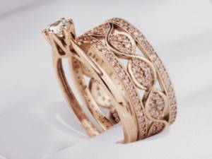 Rose gold  engagement  ring / gold 585 / diamonds /