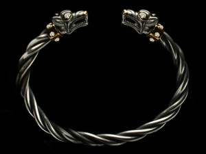 Fenrir (gold/silver/diamonds) - Viking bracelet with wolf heads - silver skull bracelet, anatomical, biomechanics, Cuff Bracelet, cuff