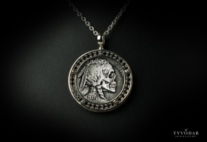 Skull Antique coin II - Necklace made of silver, antique coin. Necklace antique coin