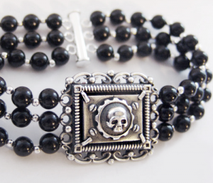 BST-8.3 Caribbean thesaurum - Bracelet made ​​of silver , black onyx bracelet