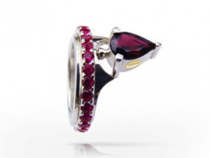 Grenade in argento - ring made of gold, natural garnet, handmade engagement, ring with red garnets