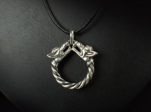 Fenrir (brass - silver plated)- Viking necklace with wolf heads - silverviking necklace, fenrir pendant, fenrir necklace, silver fenrir