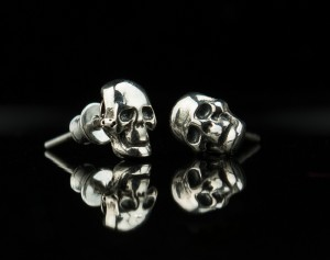Skull silver earrings - Gothic silver earrings /Stud Earrings / Human Skull Earring Skull Stud Earring Skull Jewelry Skull