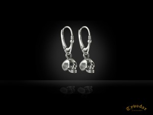 Skull silver earrings - Gothic silver earrings