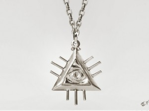 lluminati Necklace, All Seeing Eye Necklace, Sterling Silver, Eye of God, Illuminati Jewelry