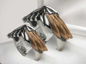 007 / Wings  - Wedding Band Sets, Wedding Bands, gold / silver  (1)