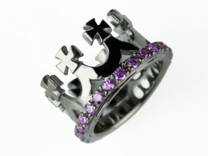 Corona (black/amethyst) - silver crown ring, crown, crown ring, black crown, Handmade silver ring