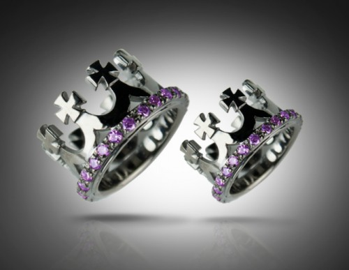006 Crown Black Purple Wedding Bands Rings Delicate Byzantine Style