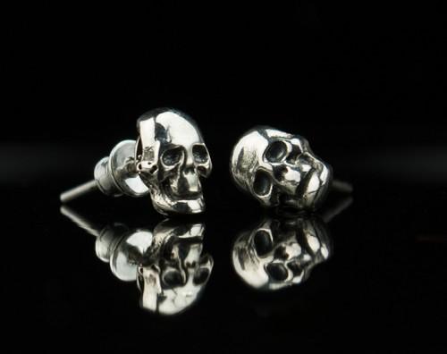 Skull Silver Earrings Gothic Stud Human Earring Jewelry