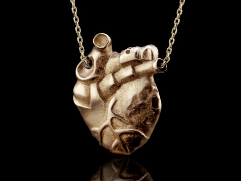 Anatomy of pectus-/brass / - Pendant heart / Anatomical heart ...