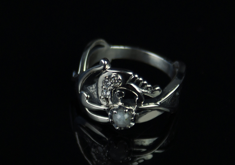 Diamond dragon silver ring celtic ring ring with diamonds