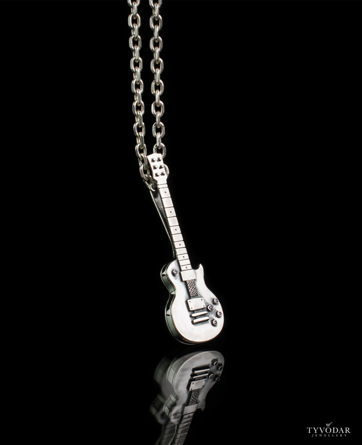 black stainless guitar steel necklace trends leather products cord inch on cgc jewelry electric pendant