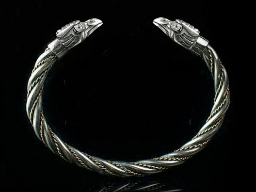 huginn and muninn silver viking bracelet odin s ravens bracelet